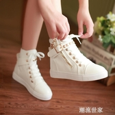 2019夏季新款少女黑色白色高幫帆布鞋大童女孩初中學生平底運動鞋『潮流世家』