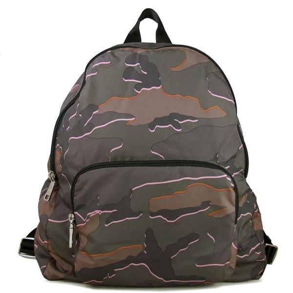 COACH 防潑水輕量尼龍迷彩花紋可收納式雙肩包 後背包 購物袋(軍綠色-大)-31450