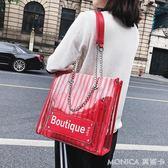 夏天包包女潮韓版百搭斜背包鏈條單肩時尚子母包透明包包 麻吉好貨