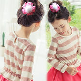 絨毛球緞帶花朵髮夾髮圈 兒童髮飾 彈性髮圈