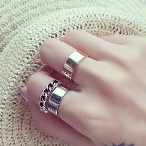 戒指.韓風時尚金屬戒指三件組.白鳥麗子