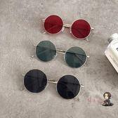 太陽鏡 原宿風墨鏡女復古金屬圓框圓臉網紅同款時尚墨鏡潮