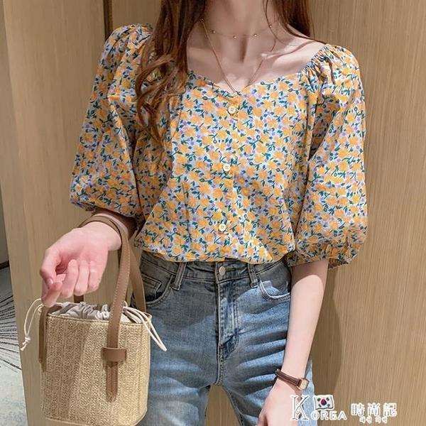 襯衫女上衣2021新款燈籠袖一字領碎花V領寬鬆短袖T恤學生洋氣夏裝