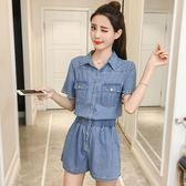 闊腿褲套裝新款時尚學生寬鬆韓版百搭薄款牛仔連體褲 QQ1893『MG大尺碼』
