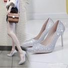 高跟鞋 水晶婚鞋網紅法式少女高跟鞋女性感細跟婚紗伴娘尖頭亮片單鞋銀色 【618 狂歡】