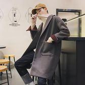 聖誕節 風衣男中長款2018秋冬新款韓版潮流寬鬆帥氣毛呢大衣男士呢子外套熊貓本