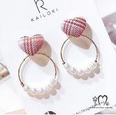 法式格紋愛心珍珠耳環-Joanna Shop