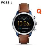 FOSSIL Q EXPLORIS  咖啡色真皮觸控螢幕智慧手錶 男