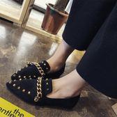 尖頭單鞋平底淺口豆豆鞋鉚釘百搭一腳蹬社會女鞋時尚  黛尼時尚精品