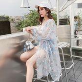夏季新款韓版花朵披肩雪紡開衫中長款寬鬆百搭薄外套沙灘防曬衣女小時光生活館