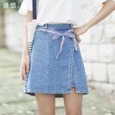夏季新款韓版綁帶牛仔半身女a字裙百搭 LR3150【VIKI菈菈】