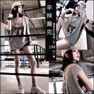 克妹Ke-Mei【AT59357】獨家,SMLK龐克背後釘釦綁帶字母圖印寬鬆T恤上衣
