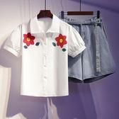 特賣款不退換中大尺碼XL-5XL/19364-1#實拍韓版大碼200斤穿時尚襯衣短褲套裝(4F093)