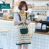 原創韓版圍裙時尚可愛貓頭鷹廚房卡通公主工作家居服咖啡店圍裙es
