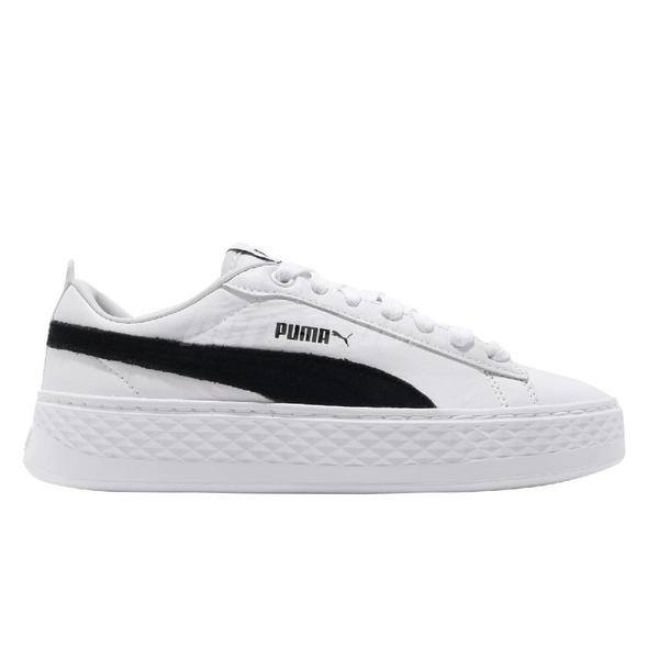 Puma 休閒鞋 Smash Platform L 白 黑 厚底 增高 女鞋 小白鞋 【ACS】 36648712