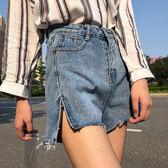 牛仔短褲  側開叉闊腿褲流蘇邊牛仔短褲女夏季2018新款百搭高腰怪味少女褲子  蒂小屋服飾