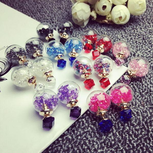 華麗 升級版 方塊 水晶 玻璃球 長款 時尚 韓國 韓版 飾品 耳飾 耳圈 耳釘 耳環