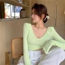 短板上衣 純色短款打底衫女秋裝緊身長袖心機鎖骨內搭薄款修身T恤上衣潮【快速出貨八折鉅惠】
