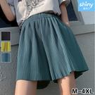 【V3359】shiny藍格子-百搭穿著.高腰垂感運動休閒短褲