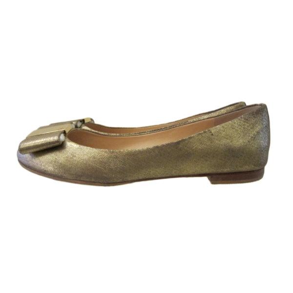 【巴黎站二手名牌專賣店】*TORY BURCH 真品*古銅金色 平底鞋 娃娃鞋