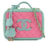 【CHANEL】vanitycase拚色BOX化妝箱荔枝紋方形二用包(粉/綠) CH19000039