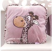 卡通空調被抱枕被子兩用大號靠墊毯子珊瑚絨法萊車用抱枕毯午睡枕(老虎)