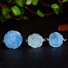 天然巴西冰種海藍寶玫瑰花戒指925銀女...