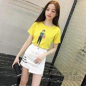 小女孩圖案短袖T恤套裝女顯瘦牛仔半身裙兩件套 衣櫥の秘密