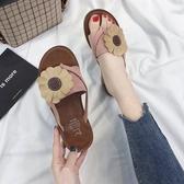 新款平底涼拖鞋女夏季時尚外穿韓版百搭花朵學生海邊沙灘鞋 時尚潮流