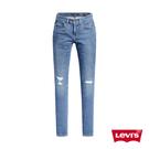 Levis 女款 Revel中腰緊身提臀牛仔褲 / 精緻刷破工藝 / 輕藍染水洗