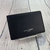 BRAND楓月 Saint Laurent YSL 聖羅蘭 459784 黑色 皮革 素面 三折短夾 皮夾 錢包