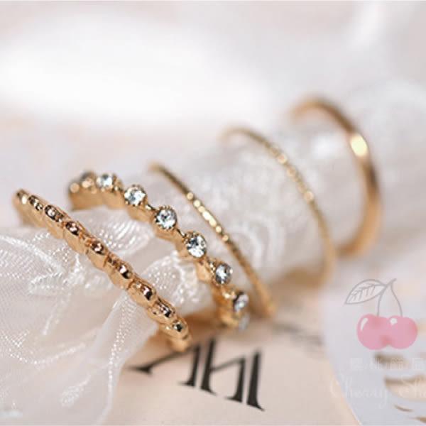 百搭金色五件套戒指 10264【櫻桃飾品】【10264】