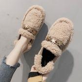 豆豆鞋女2019新款秋冬毛毛保暖懶人一腳蹬羊羔毛平底孕婦棉鞋 美麗專賣店