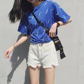 【黑色星期五】牛仔短褲女高腰寬鬆顯瘦學生闊腿a字熱褲