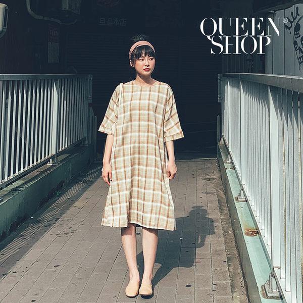 Queen Shop【01084622】配色格紋圓領長洋裝*現+預*