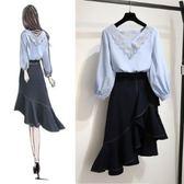 上衣半身裙L-3XL/1940大碼新款顯瘦洋氣裙子兩件套微胖妹妹最愛藏肉心機套裝F4005-B依品國際