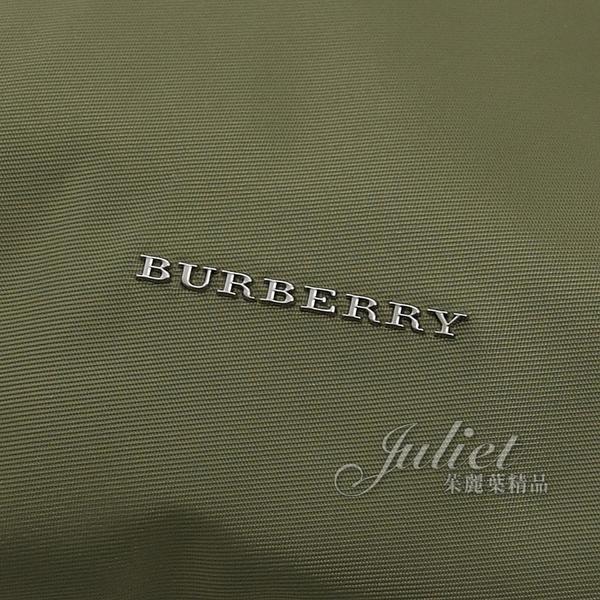 茱麗葉精品【全新現貨】BURBERRY 4024813 浮雕LOGO尼龍造型後背包.綠