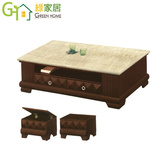 【綠家居】馬艾利 時尚5尺雲紋石面大茶几(附贈收納椅凳2張)