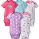包屁衣 Gerber Childrenswear 短袖包屁衣 / 哈衣 超值5件組 - 桃紫藍點點小鳥 5215-0931