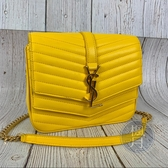 BRAND楓月 SAINT LAURENT YSL 532662 亮黃色 Y字 V壓紋 羊皮 鏈包 肩背包 小包