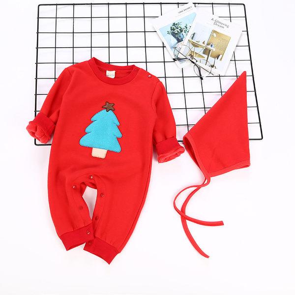 棉絨 聖誕樹連身包屁衣 (附帽子) 包屁衣 橘魔法 Baby magic 現貨 聖誕節 耶誕 新生兒 嬰兒