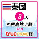 泰國 8天無限上網 TRUE MOVE當地原裝卡 不須實名 插卡即用 贈送$100當地通話費