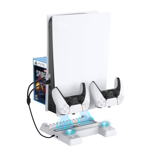 [2美國直購] NexiGo直立式支架 可調式風扇 充電站 遊戲卡槽 適用Playstation 5 光碟版&數位版 黑/白