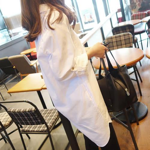 男友風襯衫 BF風寬鬆V領大口袋百搭長版上衣 艾爾莎【TAE4952】
