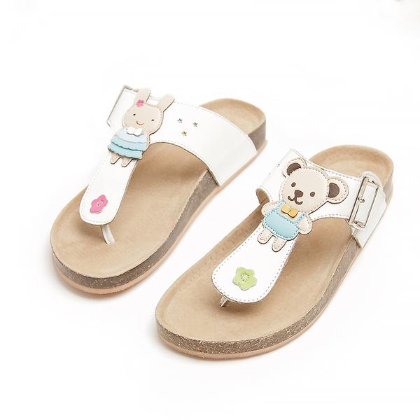 【Jingle】小熊娃娃T字軟木涼鞋(純潔白大人款)