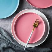 北歐創意家用陶瓷菜盤 西餐盤托盤牛排盤子黑色餐具早餐盤圓平盤 st1533『伊人雅舍』