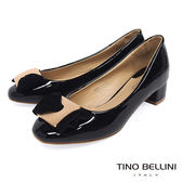 Tino Bellini 氣質方釦蝴蝶結漆皮低跟鞋_ 黑 F83018