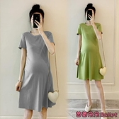 孕婦洋裝 孕婦裝夏天裙子洋氣潮辣媽個性孕婦夏裝連身裙夏季春秋款-芭蕾朵朵