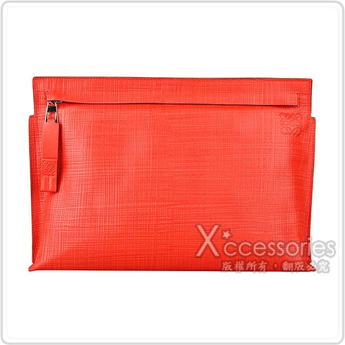 LOEWE T Pouch Linen壓印LOGO亞麻紋小牛皮拉鍊手拿包(紅)