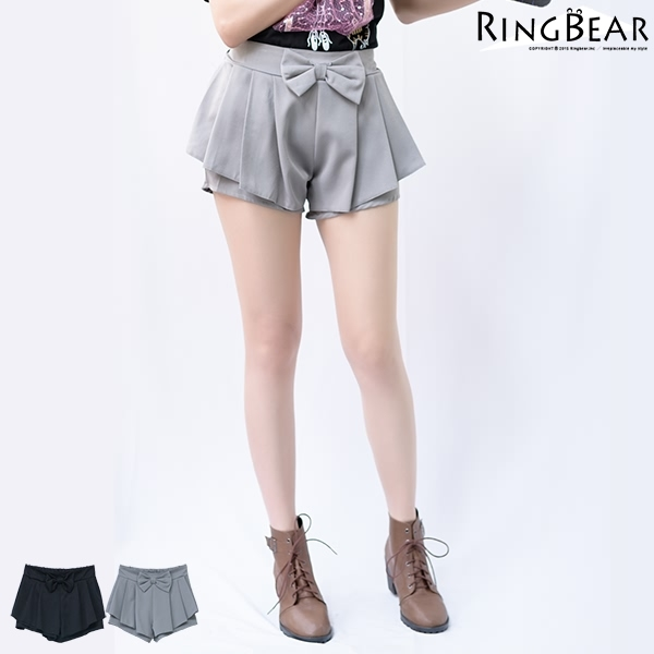 褲裙--甜美女孩活潑俏皮大蝴蝶結後褲頭抽皺鬆緊設計褲裙(黑.灰XL-5L)-R176眼圈熊中大尺碼
